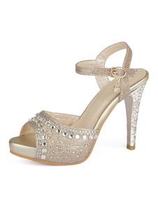 Scarpe da sera dorate Donne Sandali con tacco a punta e strass Tacchi a spillo Scarpe da sposa