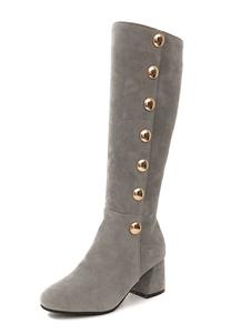 Серые сапоги для коленного сустава Замша с круглыми носками Деталь Короткие сапоги пятки