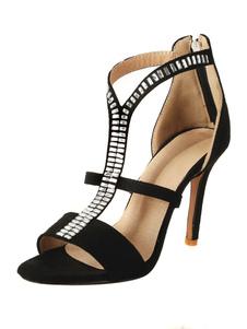 Sandálias de gladiador preto camurça dedo do pé aberto strass T tipo sandálias de salto alto para mulheres
