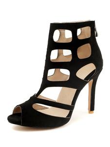 Sandálias Gladiador Preto Mulheres Peep Toe Cortar Sandálias de Salto Alto