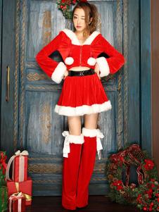 Рождественские костюмы Красные женщины Санта-Клаус Велюр с длинным рукавом Верхняя юбка наряд 3 шт.