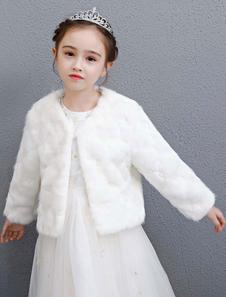 Свадебные цветочные девушки Куртка из искусственного меха Слоновая кость с длинными рукавами Зимние обертки