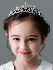تاج فضة زهرة فتاة تاج ليتل بنات اكسسوارات للشعر أطفال أغطية الرأس الزفاف