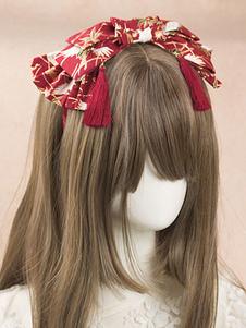 Sweet Lolita Copricapo Stampa nappa Fiocco Twill Bordeaux Lolita Accessorio per capelli