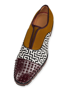 Homens Vestido Sapatos Camurça Rodada Toe Patchwork Impresso Rebite Slip On Casual Business Shoes