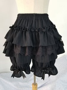 Classico Lolita Shorts Ruffle Lace Bow Black Cotton Lolita Bottom
