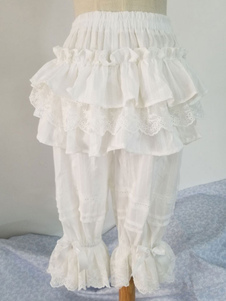 Lolita clássico Shorts Lace Ruffle branco algodão Lolita Bottoms
