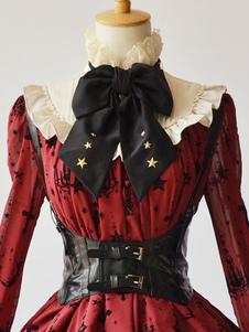 Steampunk Gothic Black Lolita Corset Hebilla metálica PU Lolita Bustier Dreaa