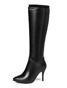 Высокие каблуки сапоги Черные коленные сапоги с острым носком