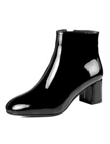 الكاحل الأسود أحذية النساء ساحة تو زمم تصل مكتنزة كعب قصير الأحذية