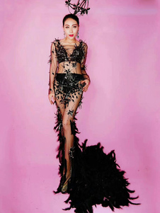 Jazz Dance Costume Halloween Black Women Feather Sexy Long Sleeve Dresses With Train