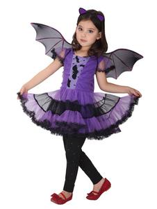 O traje do bastão de Halloween caçoa o equipamento roxo dos vestidos 3 partes