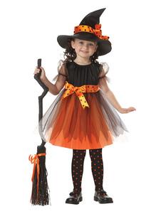 O traje da bruxa caçoa vestidos e o chapéu alaranjados de Tulle do Dia das Bruxas para as meninas