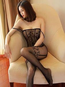 Bodystocking sexy preto Crotchless que dá forma à roupa interior completa para mulheres