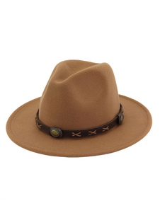 Шляпа Fedora Hat Металлическая деталь PU Коричневая шапочка для мужчин