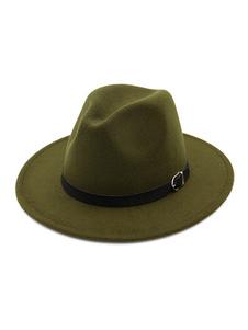 Мужская боулерская шляпа PU Buckle Wool Hat Fedora