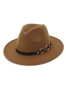 Мужская шерстяная шляпа Металлическая деталь Браун Fedora Bowler Hat