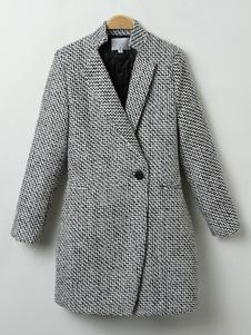 معطف رمادي للمرأة حامل Colalr كم طويل أزرار معطف الشتاء