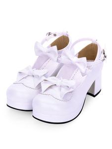 Sweet Lolita Footwear Bow Tobillo Correa Plataforma Chunky High Heel White Lolita Shoes