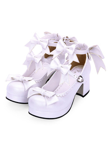 Scarpe Lolita Sweet Lolita Calzature Bow Strappy PU Platform Chunky High Heel Lolita Shoes