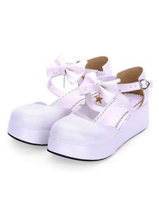 Doce Lolita Sapatos Bow Starlet Strappy PU Lolita Flatform Sapatos