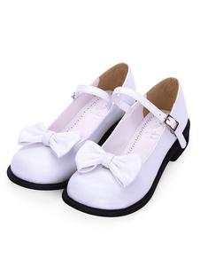 Doce Lolita Calçado Bow Rodada Toe Branco Lolita Mary Jane Sapatos