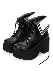 Scarpe Lolita classiche Lolita Boots Lace Up Two Tone Round Toe Platform