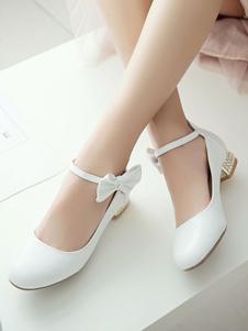 أحذية لوليتا الكلاسيكية لؤلؤة لؤلؤة رباط الكاحل حزام معدني جرو كعب أبيض لوليتا