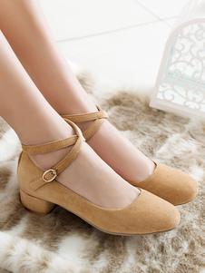 Lolita Bomba Sapatos Dedo Do Pé Redondo Camurça De Salto Alto Lolita Sapatos