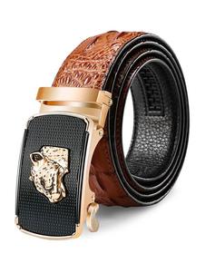 Cinturón de cuero marrón Pantera metálica Patrón en relieve Búfalo Hombres Cinturón