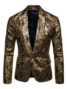 Giacca Sportiva da Uomo 2020 con Colletto Tondo in Oro con Stampa di Un Blazer Casual a Maniche Lunghe