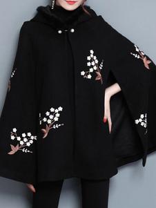 Casaco de Capuz preto Casaco Com Capuz De Pérolas Bordadas Oversized Casaco De Inverno Poncho De Lã Para As Mulheres