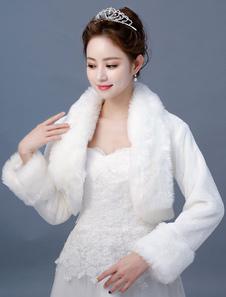 بوليرو سترة الزفاف العاج كم طويل فو الفراء الزفاف الشتاء التستر