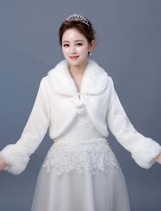 Bolero chaqueta de novia de piel sintética de novia de manga larga de invierno cubrir hasta