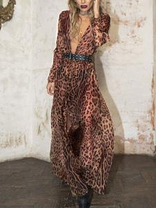 ليوبارد فستان ماكسي مثير تغرق كم طويل زر حزام فستان الشيفون للنساء