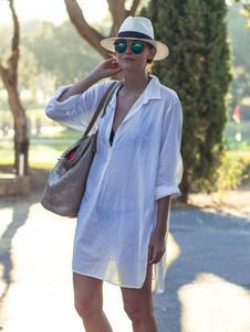 Пляжная обложка Белая рубашка Негабаритное платье Sheer Купальный костюм с карманами