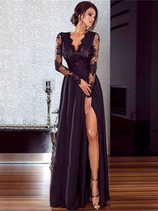 As mulheres negras vestido longo ilusão mangas de alta divisão rendas e vestido sexy chiffon
