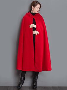 Casaco de capuz casaco vermelho com capuz casaco de inverno para mulheres