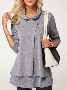 Негабаритная пуловерная футболка с длинными рукавами с длинным рукавом