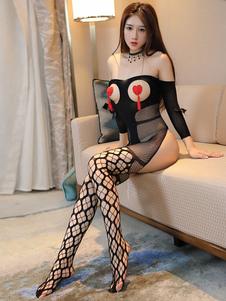 Bodystocking sexy preto cortou a roupa meias Crotchless da roupa interior para mulheres