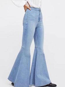 بنطلون جينز بأرجل عالية مخصر أزرق بنطلون جينز للنساء
