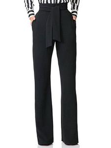 سروال أسود بنطلون نسائي عالي مخصر