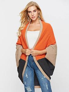Oversized Cardigan Sweater Color Block manga comprida casaco de malha para mulheres
