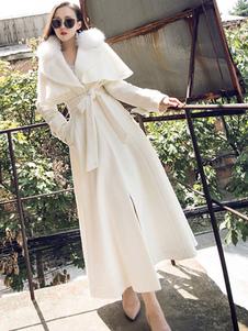 Mulheres Maxi Brasão Faux Fur Collar manga comprida com cinto Slim casaco de lã de abeto
