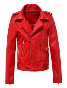 Chaqueta Moto roja de cuero como cremallera Chaqueta motera con bolsillos