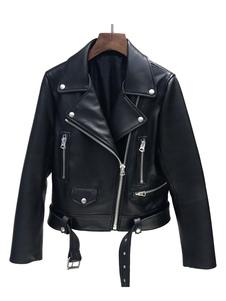 Chaqueta Moto negra de cuero como la hebilla de la cremallera Cuello de cobertura Chaqueta motera