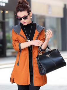abrigo mujer Naranja con manga larga Encapuchada de poliéster Color liso Moda Mujer de cordón estilo informal Otoño Invierno Poliéster