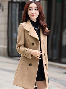 معطف نسائي من البازلاء معطف من الصوف معطف طويل بأكمام طويلة معطف شتوي