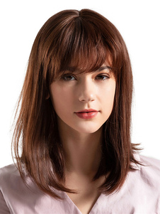 Парики человеческих волос Глубокие коричневые слоистые прямые парики волос с Bangs