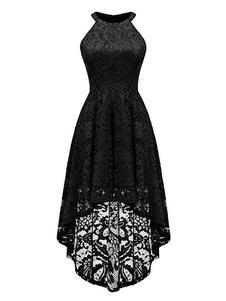 فستان دانتيل مثير بلا أكمام فستان سهرة قصير